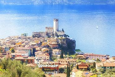 Village from above, Malcesine, Lake Garda, Verona Province, Veneto, Italian Lakes, Italy, Europe