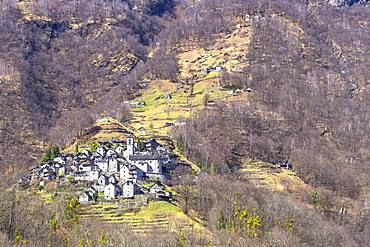 Village of Corippo, Verzasca Valley, Canton of Ticino, Switzerland, Europe