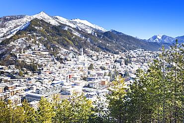 Village of Clusone in winter, Clusone, Val Seriana, Bergamo province, Lombardy, Italy, Europe