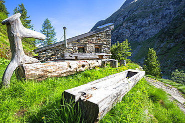 Traditional hut in the Forno Valley, Maloja Pass, Engadine, Graubunden, Switzerland, Europe