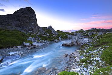 Sunrise at Segnes Hutte, Unterer Segnesboden, Flims, District of Imboden, Canton of Grisons (Graubunden), Switzerland, Europe