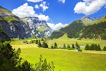 Elevated view of Val Bargis valley in the summer, Flims, District of Imboden, Canton of Grisons (Graubunden), Switzerland, Europe