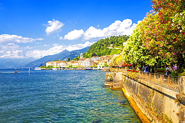 The lake side of Bellagio, Province of Como, Lake Como, Italian Lakes, Lombardy, Italy, Europe
