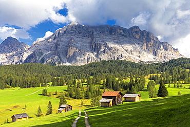 Huts of Prati Armentara, La Val (Wengen), Badia Valley, South Tyrol, Dolomites, Italy, Europe