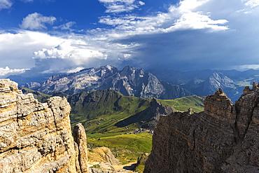 Sun lights Marmolada and Pass Pordoi, Fassa Valley, Trentino, Dolomites, Italy, Europe
