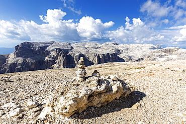 Little pebble at the plateau of Piz Pordoi, Fassa Valley, Trentino, Dolomites, Italy, Europe