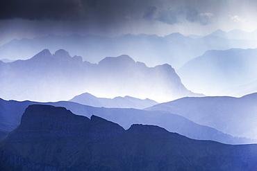 Summer storm in Fassa Valley, Trentino, Dolomites, Italy, Europe