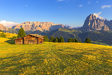 Last rays of sun on traditional hut with view on Sassolungo and Sella Group, Gardena Valley, South Tyrol, Dolomites, Italy, Europe