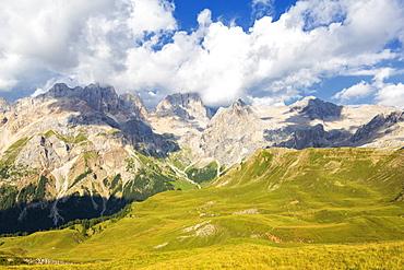 Marmolada Group from San Nicolo Pass, Fassa Valley, Trentino, Dolomites, Italy, Europe