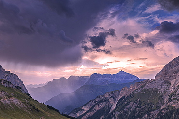 Thunderstorm during sunset on Sella Group, Fassa Valley, Trentino, Dolomites, Italy, Europe