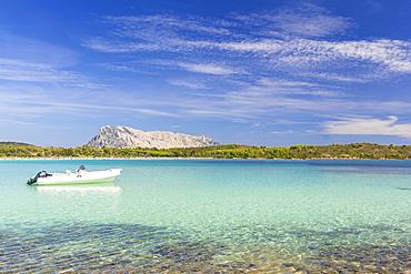 Moored boat at Cala Brandinchi, San Teodoro, Olbia Tempio province, Sardinia, Italy, Mediterranean, Europe