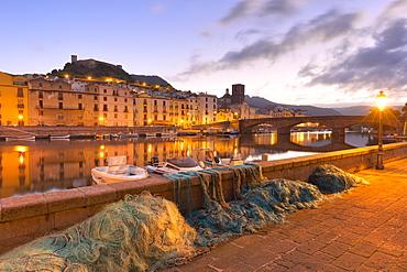 Fishing nets along the river during twilight, Bosa, Oristano province, Sardinia, Italy, Mediterranean, Europe