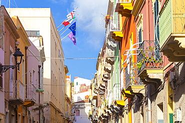 Colorful houses of Carloforte, San Pietro Island, Sud Sardegna province, Sardinia, Italy, Mediterranean, Europe