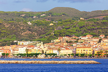 Village of Carloforte from the sea, Carloforte, San Pietro Island, Sud Sardegna province, Sardinia, Italy, Mediterranean, Europe