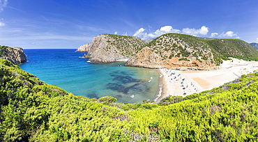 Panoramic view of the beach of Cala Domestica from above, Iglesias, Sud Sardegna province, Sardinia, Italy, Mediterranean, Europe