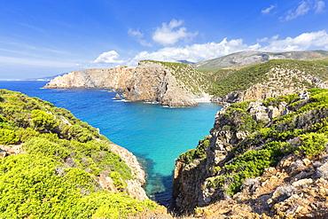 Beach of Cala Domestica from above, Iglesias, Sud Sardegna province, Sardinia, Italy, Mediterranean, Europe