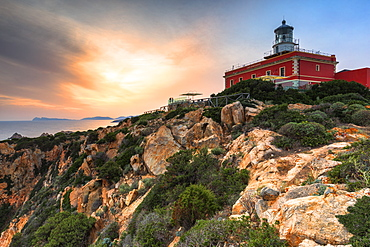 Sunset from the lighthouse of Capo Spartivento, Domus de Maria, Cagliari province, Sardinia, Italy, Europe