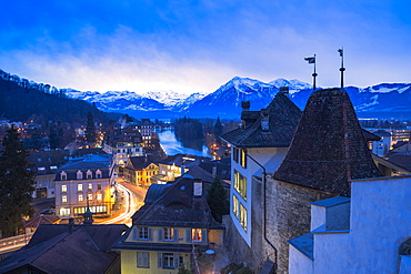 Elevated view of the historical centre of Thun, Canton of Bern, Switzerland, Europe
