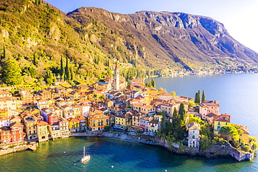 Aerial view by drone of Varenna, Lake Como, Lombardy, Italian Lakes, Italy, Europe