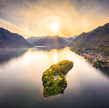 Aerial view of Comacina Island at sunset, Lake Como, Lombardy, Italian Lakes, Italy, Europe