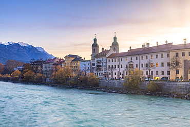 Cathedral of St. James and Inn River at sunrise, Innsbruck, Tyrol, Austria, Europe