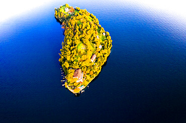 Aerial view of Comacina Island during autumn, Lake Como, Lombardy, Italian Lakes, Italy, Europe