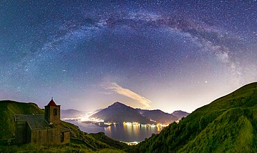Milky Way above San Bartolomeo Church, Musso, Lake Como, Lombardy, Italian Lakes, Italy, Europe