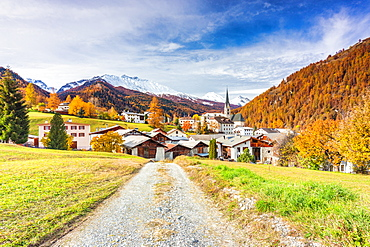Traditional Swiss village called Santa Maria in Val Mustair, Canton Graubunden, Switzerland, Europe