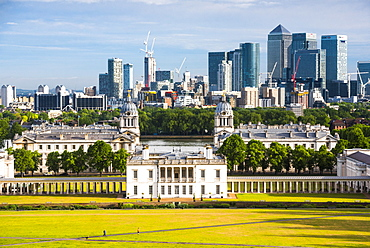 Old Royal Naval College, UNESCO World Heritage Site, Greenwich, seen from Greenwich Observatory, with Docklands beyong, London, England, United Kingdom, Europe