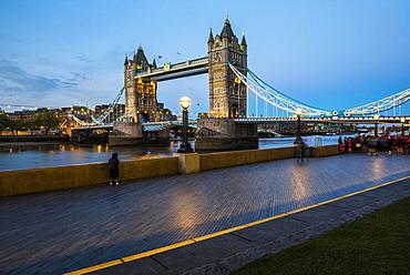 Tower Bridge at night, Southwark, London, England, United Kingdom, Europe