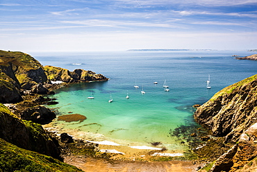 Sailing boats seen from La Coupee, Sark Island, Channel Islands, United Kingdom, Europe
