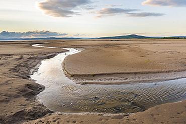 Morecambe Bay at sunset, Lancashire, England, United Kingdom, Europe