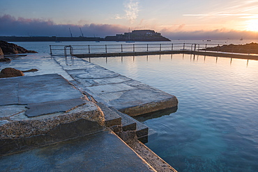 The Bathing pools and Castle Cornet in the background, St. Peters Port, Guernsey, Channel Islands, United Kingdom, Europe