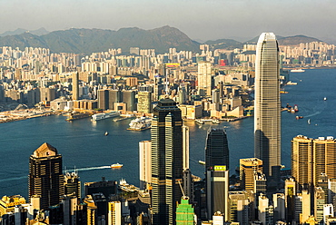 View across Victoria Harbour, from Hong Kong Island to Kowloon, seen from Victoria Peak, Hong Kong, China, Asia