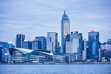 Centre of Hong Kong Island at night, Hong Kong, China, Asia