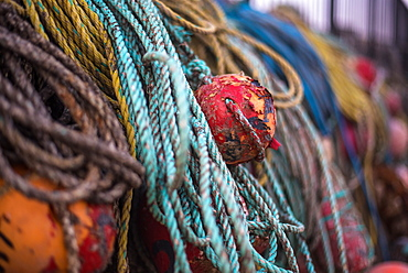 Old Buoy and ropes in Rathlin Island, County Antrim, Ulster, Northern Ireland, United Kingdom, Europe