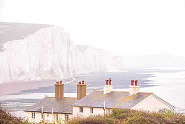 Cuckmere Haven and the Seven Sisters chalk cliffs on a misty day, South Downs National Park, East Sussex, England, United Kingdom, Europe