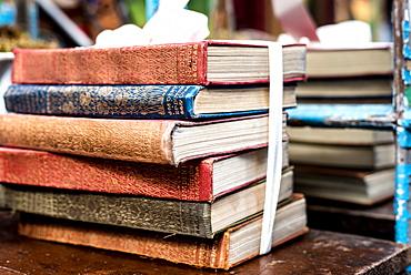 Antique books at Portobello Market, London, England, United Kingdom, Europe