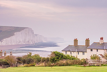 Cuckmere Haven, Seven Sisters chalk cliffs, South Downs National Park, East Sussex, England, United Kingdom, Europe