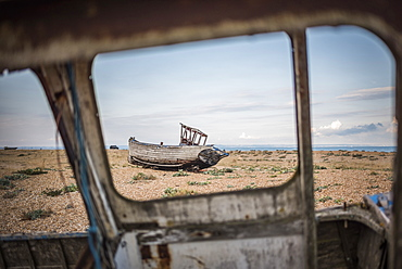 Old fishing boat on Dungeness Beach, Kent, England, United Kingdom, Europe