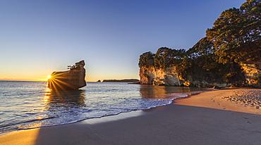 Sunrise at the Cathedral Cove, Te Whanganui-A-Hei Marine Reserve, Coromandel Peninsula, North Island, New Zealand, Pacific