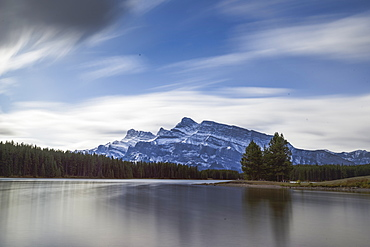 Long exposure landscape of the Two Jack Lake in the Banff National Park, UNESCO World Heritage Site, Canadian Rockies, Alberta, Canada, North America