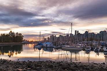 Vancouver city in the morning, viewed from the Stanley Park, Vancouver, British Columbia, Canada, North America