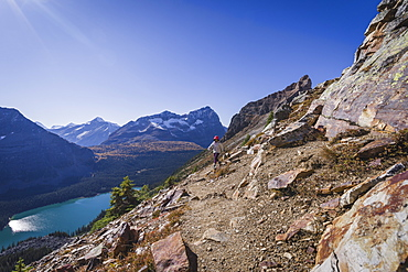 Woman hiker on the Alpine Circuit Trail at Lake O'Hara, Yoho National Park, UNESCO World Heritage Site, British Columbia, Canadian Rockies, Canada, North America