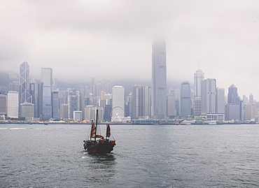 Ferry boat crossing the Victoria Harbour from Tsin Sha Tsui to Central Hong Kong, Hong Kong, China, Asia