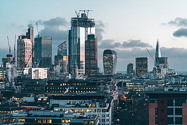 City of London financial district skyline at night, London, England, United Kingdom, Europe