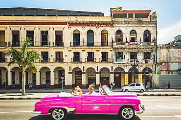 A pink American classic car next to El Capitolio in Havana, La Habana (Havana), Cuba, West Indies, Caribbean, Central America