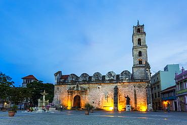 Convento de San Francisco de Asis at night, La Habana Vieja, UNESCO World Heritage Site, Old Havana, La Habana (Havana), Cuba, West Indies, Caribbean, Central America