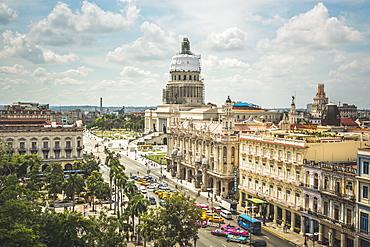 Aerial view the Gran Teatro de La Habana and El Capitolio, Havana, Cuba, West Indies, Caribbean, Central America