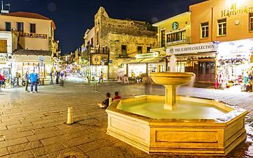 Venetian fountain at night, Chania, Crete, Greek Islands, Greece, Europe